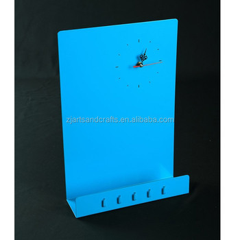 Metal Magnetic Wall Memo Board with Clock and Hooks