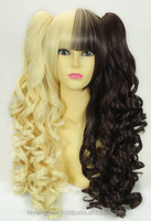 Attractive wigs half color high temperature resistant Golden black hairstyle synthetic color lace remy hair accept paypal