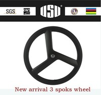 Factory new product three spoke wheels 700c carbon bicycle tri spoke wheel