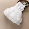 Summer wholesale children dress party wear for gilrs pink white yellow yarn dress