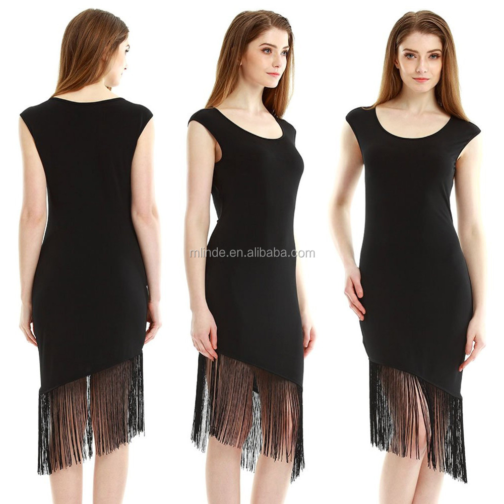 Manufacturers China New Design Apparel Fashion Stylish Women Simple Dresses Sleeveless Slim Tassel Girls Party Gatsby Dress