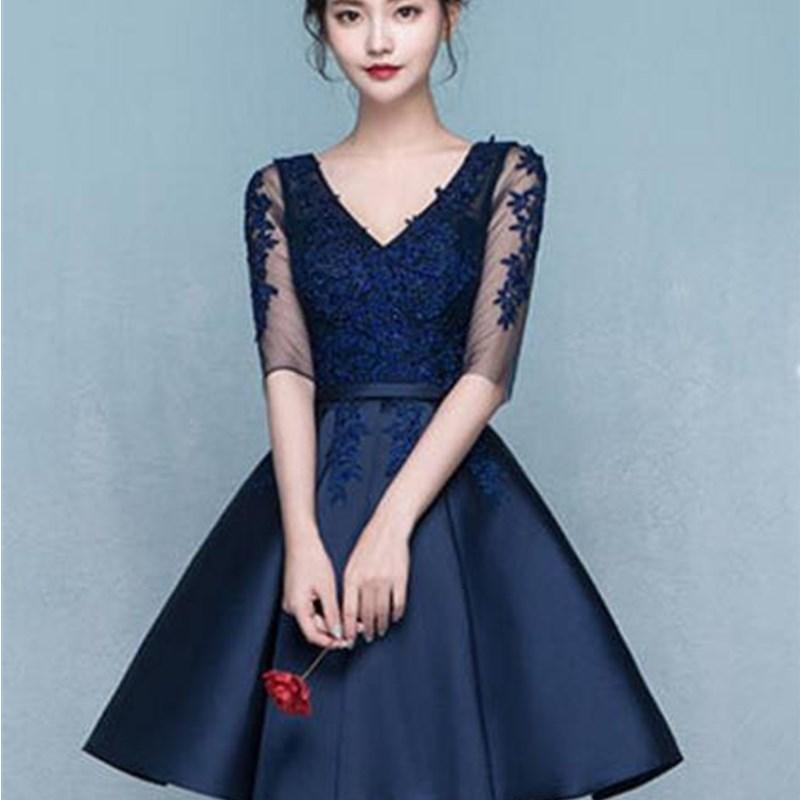 ruthshen Sweet Short Knee Length Cocktail Dresses Half Sleeves Lace  Appliques V Neck Vestidos Coctel 2018. 1-1 1-4 ... 65fc52191d26