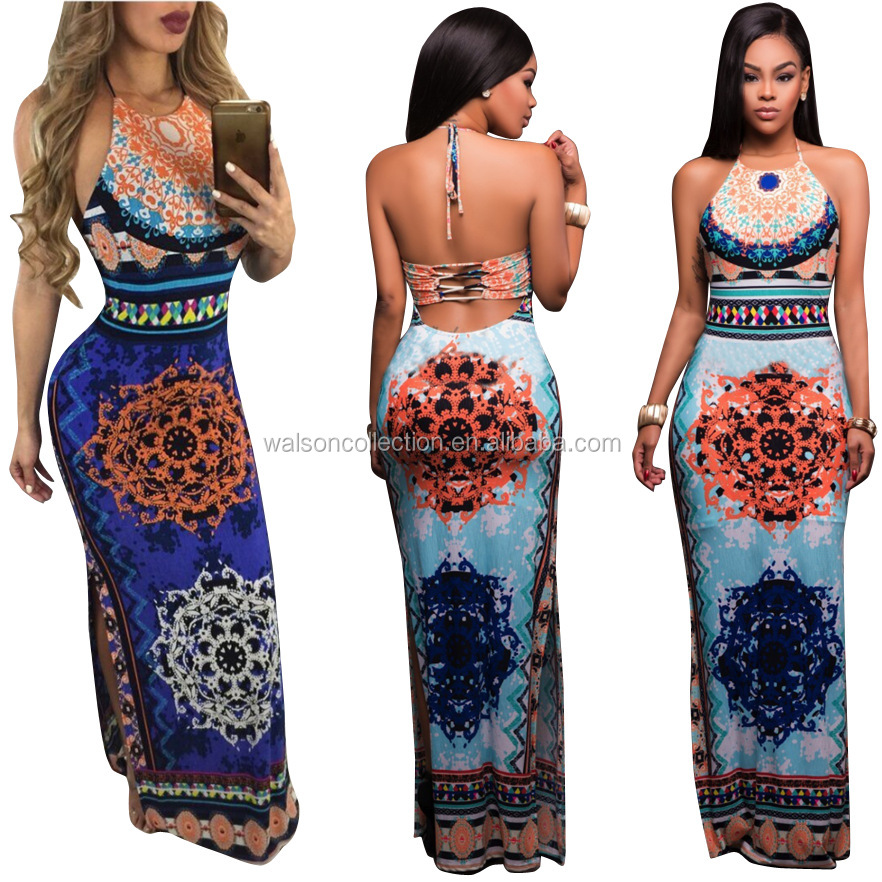2017sexy party club women printing dress Slim split backless long dress sleeveless XL