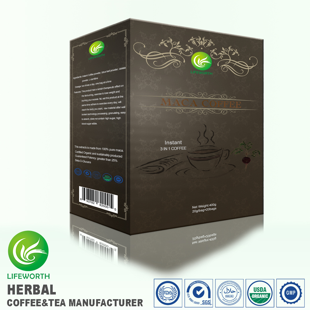 Lifeworth factory price herbal instant maca extract 3 in 1 coffee for improve men power by exclusive formulas