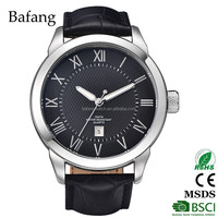 Fashion type CE certificates genuine leather strap man stainless steel watch