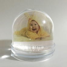 baby photo frame custom printing plastic photo snow globe for baby birthday <strong>gift</strong>
