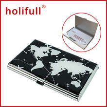 black with white color map design Steel Business Card Case for Men & Women Keep Business Cards in Immaculate Condition