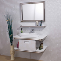 Modern Fashion stainless steel marble top bamboo bathroom vanity