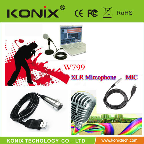 USB to Microphone Mic Link Cable Adapter Converter XLR 3M For PC Record MAC Win7