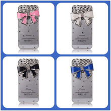 Bow case for iphone 5 , Clear Luxury 3D Bling Rhinestone Hard Bow Case for iphone 5S