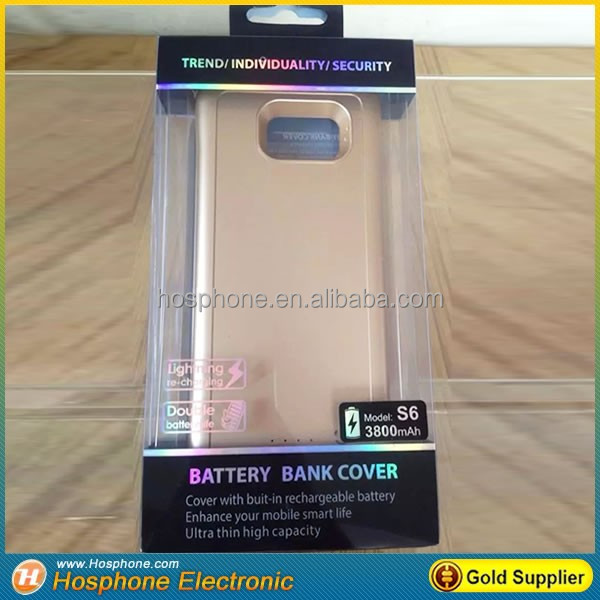 Wireless External backup charger battery power case cover, power bank for samsung galaxy s6