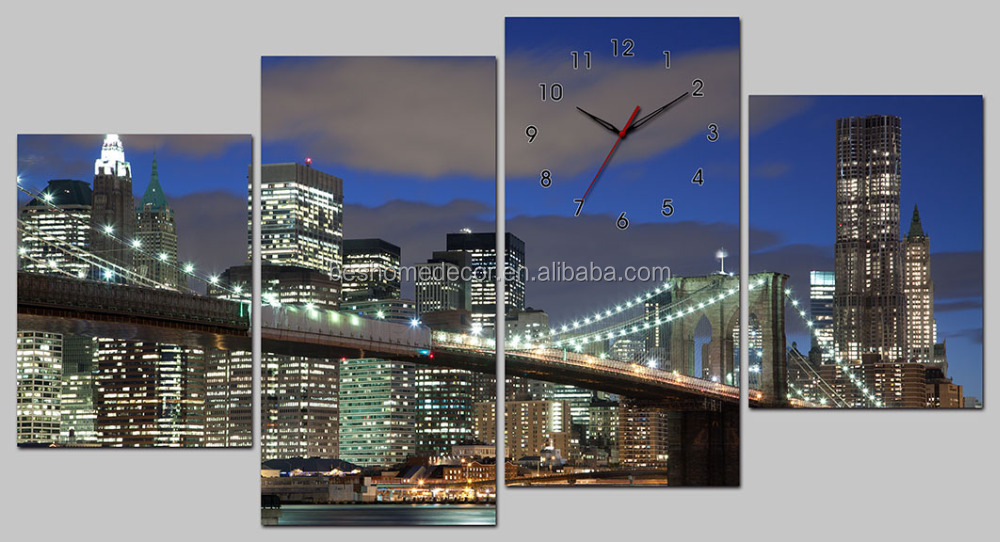 Modern painting canvas wall clock , frameless painting wall clock