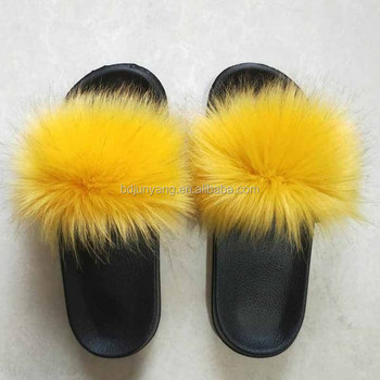 Furry faux fur slippers sandals fur slipper for women