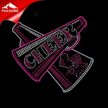 Glitter cheer hot fix rhinestone transfers for garment handle bag tee shirts