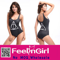 Cheap new style black latex sling ladies beauti sex one piece swimsuit