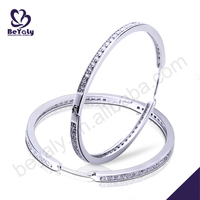 2015 latest model cz inlaid silver fashion hoop earrings
