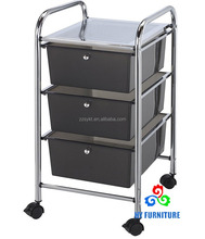 Mobile home kitchen storage cart organizer with multi-colored plastic drawers