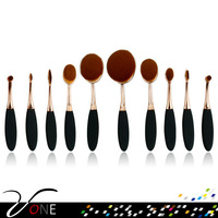 2016 new hotsell 10 pcs/ set oval tooth shaped makeup brush with plastic long handle