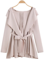 Outerwear Tops fashion women girl clothes Apricot Hooded Belt Loose Coat