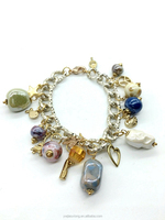 Bohemian Bracelet Chain Charm Bangle with Gemstone Hanging