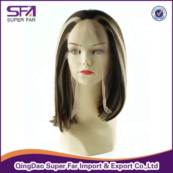 China manufacturer wholesale heat resistant synthetic fibre lace wigs