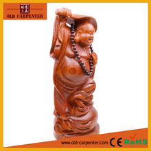 Buddha Maitreya with fan in hand home decoration wood carving