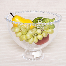 Mouth blown glass salad bowl clear glass fruit bowl with stand for table decorative