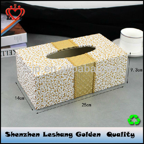 High grade golden tissure box &plush tissue box cover