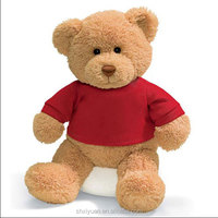 custom bear clothes Brown teddy bear wear red t-shirt