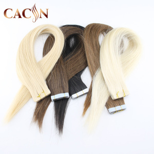6 inch virgin remy brazilian peruvian 100% loose yaki blonde tape names of hair extension human hair skin weft in dubai