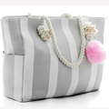 Large Canvas Women Tote Bag Beach Tote with Cotton Rope Handles Multifunction Stripe Pattern Beachbag