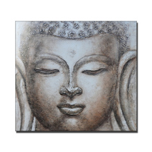 Hand painted buddha face oil painting on canvas