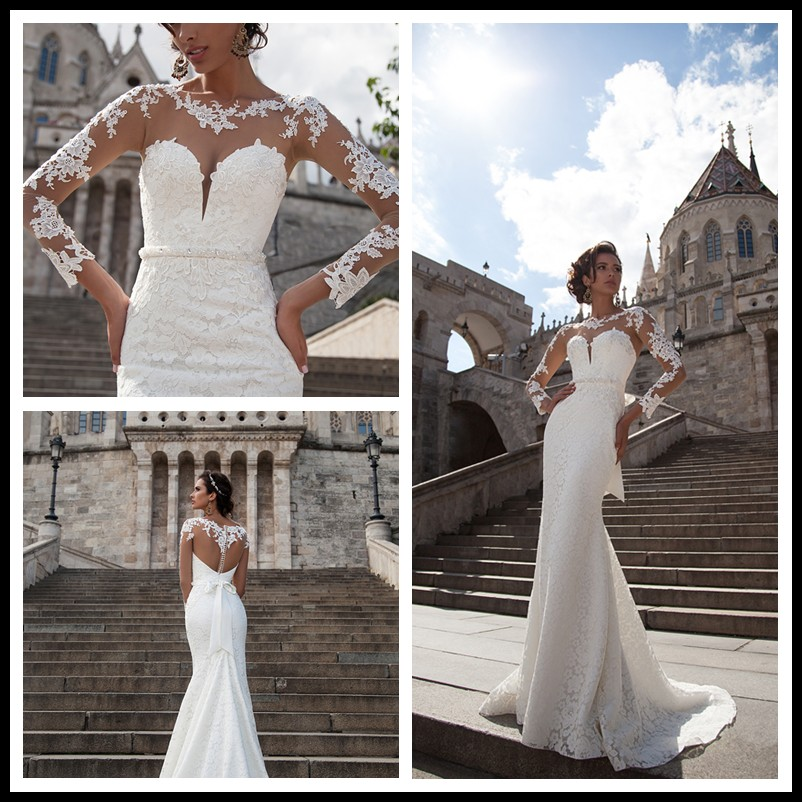 Simple Elegant Lace Long Sleeve Formal Cheap Wedding Dresses