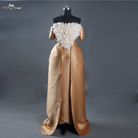 LZ165 Alibaba Celebrate Dress Egypt Gold Wedding Dresses With Detachable Train Hand Make Flowers