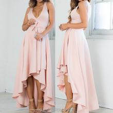 Light pink sleeveless V-neckline long tail maxi cocktail dress
