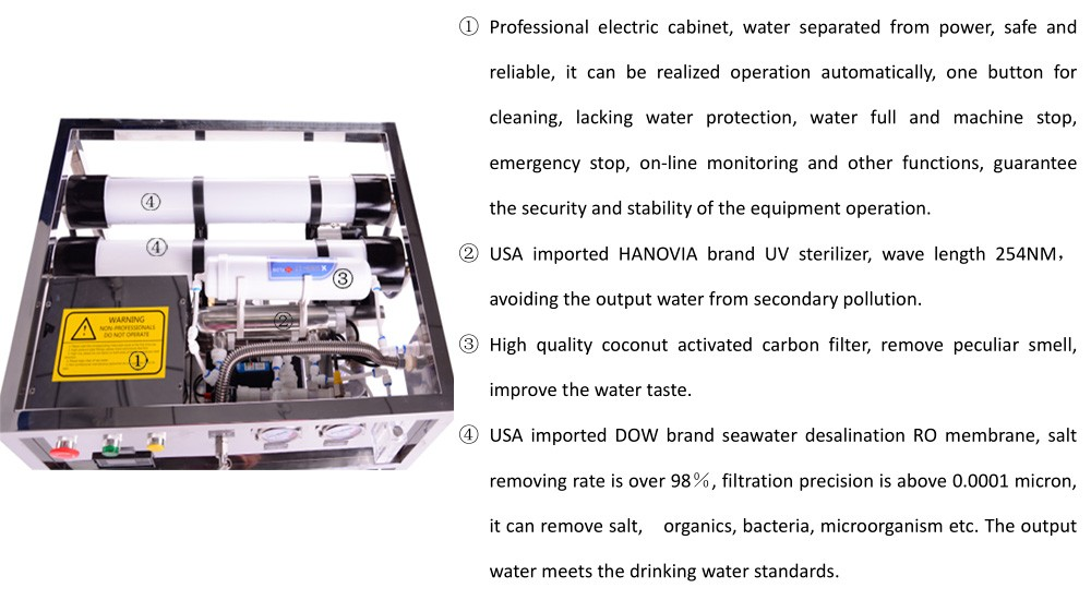 island resort drinking water automatic control sea water desalination Reverse Osmosis system