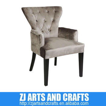 0382 Antique Chair (Champagne Faux Velvet covered arm chair with clear acrylic diamond buttons, silver studs and dark brown leg)