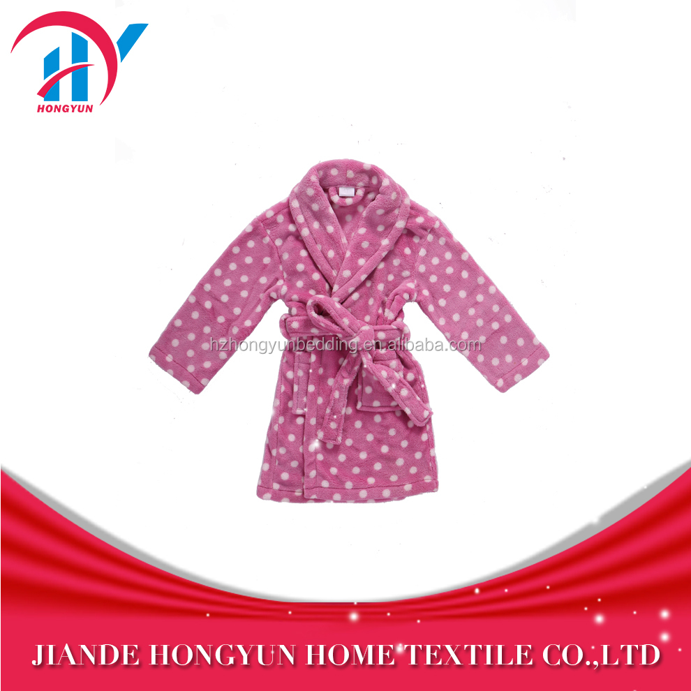 China factory price girl's dots printed coral velvet nightwears