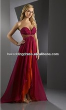 HE2292 Sexy deep sweetheart neck ruched top empire waist red chiffon front split bohemian style prom dresses
