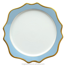 western food creative white ceramic porcelain Sky Blue hotel home dishes tableware