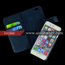 Navy Blue Genuine Leather Case for Iphone 6 Wallet Case Detachable Style Magnetci Flip Stand Cover