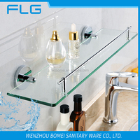 America style ORB plated single tier bathroom glass shelf