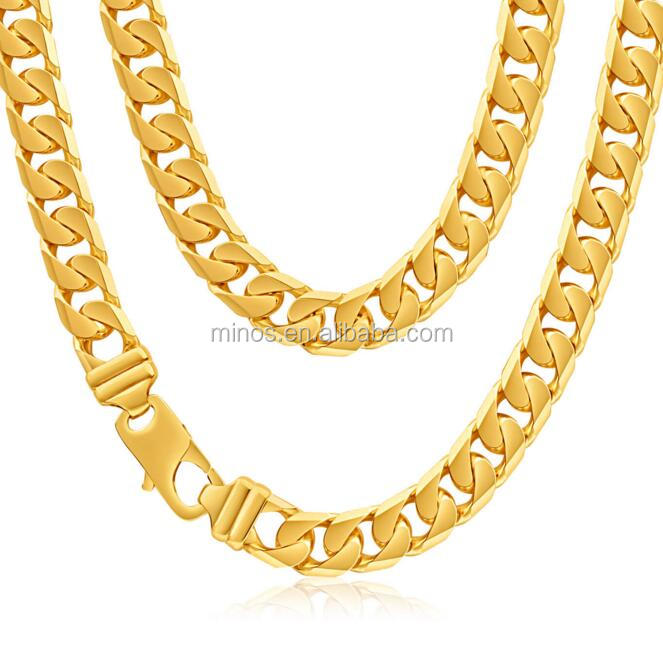 Wholesale Stainless Steel Gold Plated Heavy Curb 55cm Chain, Men's Latest Gold Chain Designs 2016