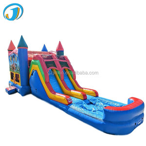 High Quality Commercial Giant Floating Combo Bouncer Slides Long PVC fashion slides With Pool