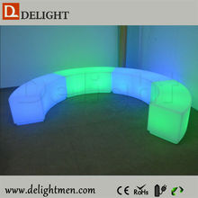 Outdoor illiminated plastic led bench curved stool/led curved bar chairs