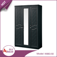 W883-50 bedroom wardrobe designs with mirror /hot sale 3 door tall wooden wardrobe design/clothes cupboard design