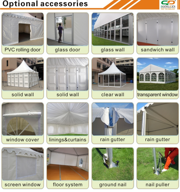 10x10m Bline pagdoa tents with ceilings and curtains for 80-100 people wedding event and meeting