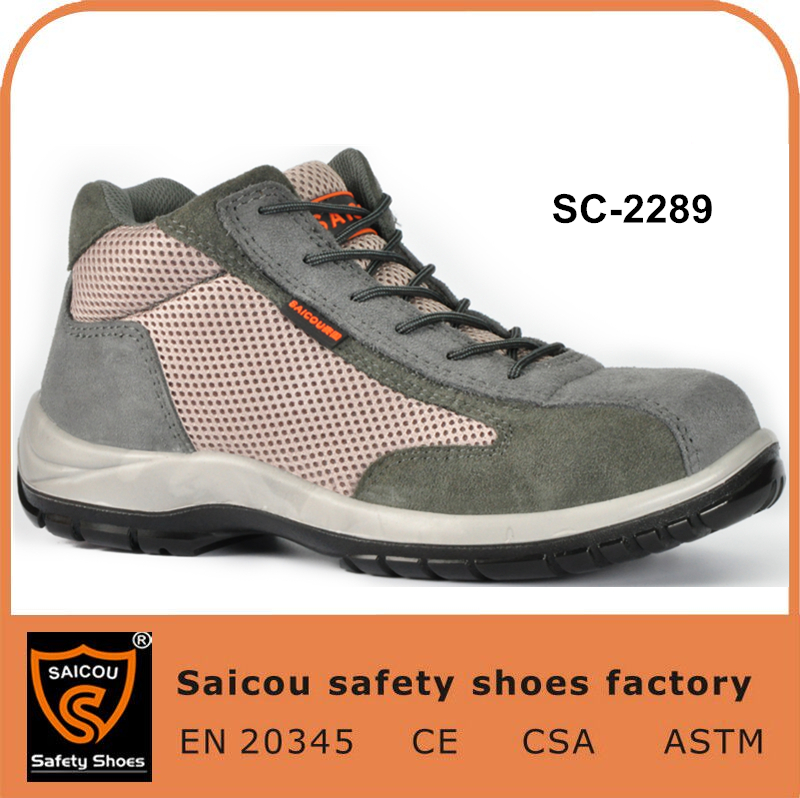 guangzhou sporty safety boot and slip resistant steel bottom safety shoes SC-2289