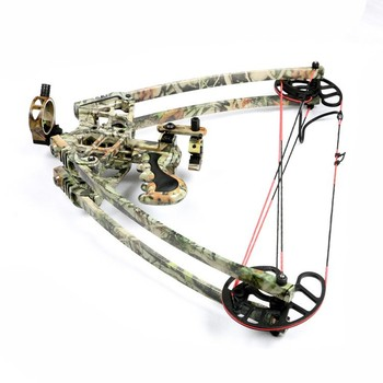 M109 45lbs compound triangle bow for outdoor hunting archery set with camo / black fibreglass limbs carbon arrow