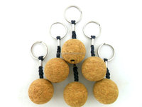 cork ball floating keychain